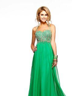 A-line Halter Sleeveless Chiffon Prom Dress With Beading #FJ882