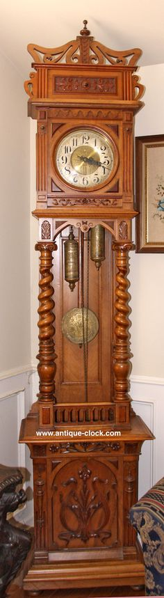 ~ Open Well Art-Nouveau Grandfather Clock ~ antique-clock.com