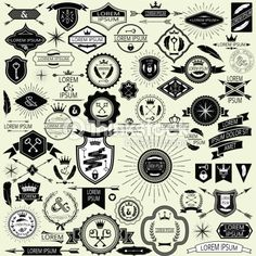 Collection of vintage labels and stamps for design. Easily editable vector illustration.
