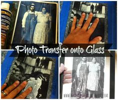 photo transfer tutorial:l -Painter's Tape -Glass Pane (I used glass from a picture frame) -Photo–from book, magazine, or printed on laser jet printer -Wet Wash Cloth