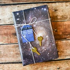 How to make space gift wrapping paper, and use it with a DIY TARDIS gift tag to make a Doctor Who themed present.