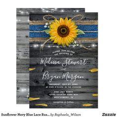 Sunflower Navy Blue Lace Rustic Wood Wedding Invitation Elegant Wedding Invitations, Sunflower Wedding Invitations, Rustic Invitations, Invites, Shower Invitations, Invitation Ideas, Invitation Cards, Birthday Invitations, Fall Wedding