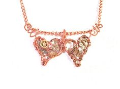 Two Hearts Steampunk Pendant by MelsMakeBelieve on Etsy, $32.65