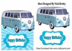 Blue split screen campervan over the edge card on Craftsuprint - Add To Basket!
