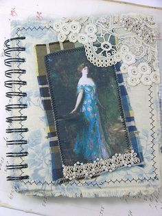 Inspiration - Fabric Collaged Blank Journal/Sketchbook Lady in Blue by Shabby Cottage Studio, via Flickr