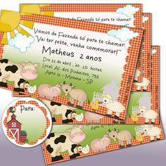 20 convites impressos e personalizados Festa Fazendinha - Tamanho: 14,0  cm x 9,0  cm  - Acompanha 20 unidades de  Tag para nome de convidados - redondas de 5,5 cm de diâmetro