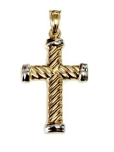10k Yellow Gold Flat-Backed Cross in Circle for Eternal Life Charm Pendant