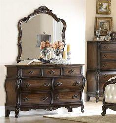 Bayard Park Traditional Dark Brown Cherry Wood Glass Dresser