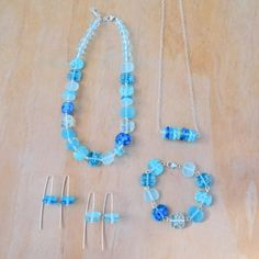 mixed recycled glass bead jewellery