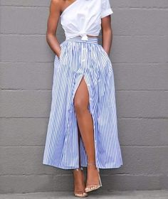Light Blue Striped Buttined Ankle Length Skirt