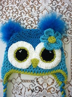 Adult size Turqoise and teal owl hat by MarysMoxee on Etsy