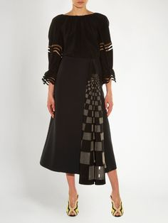 Checked gazar-insert midi skirt