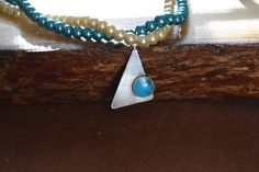 Geometric pendant and glass pearl necklace in by RamblingWhimsy