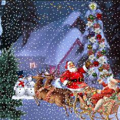 Beautiful Christmas Scenes, Winter Christmas Scenes, Christmas Scenery, Merry Christmas Happy Holidays, Whimsical Christmas, Vintage Christmas Cards, Christmas Greetings, Happy Xmas Images, Animated Christmas Pictures