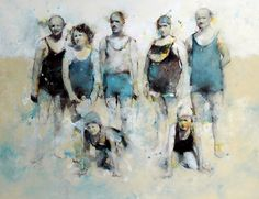 Jean Noviel, Les estivants, 2006 (huile, encre, crayons, vernis et impression sur toile)