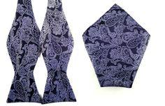 Black with Purple Paisley Self Tied Bowtie Pocket by AristoTIES