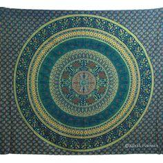 Blue Indian Mandala Bird Paradise Hippie Mandala Tapestry Bed Cover on RoyalFurnish.com, $22.99
