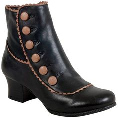 Miz Mooz Women's Fido Ankle Boot ($175) ❤ liked on Polyvore featuring shoes, boots, ankle booties, black, black leather bootie, chunky black booties, ankle boots, short boots and short black boots