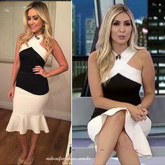 """Vestido preto e branco apresentadoras do """"Domingo Espetacular"""" 27 de Nov   http://modaefeminices.com.br/2016/11/28/looks-apresentadoras-do-domingo-espetacular-27-de-nov/"""