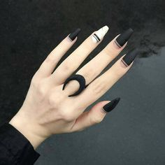 Black is a commonly used color in nail art designs. Many people have tried black nail art designs. Black can be used alone or in combination with any other color. Black can be used on nails of any shape. Black coffin nails and black Stiletto nails ar Black Coffin Nails, Matte Black Nails, Black Nail Art, White Nails, Matte Pink, Dark Nails, Stiletto Nails, Hair And Nails, My Nails