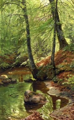 """""""A Forest Stream"""" by Peder Mork Monsted."""