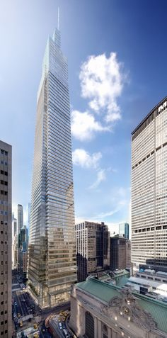 YIMBY has a fresh rendering of SL Green's One Vanderbilt; the office tower will stand 1,514 feet tall, becoming one of NYC's tallest buildings.