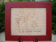 """Tis the Season for Snowflakes"" a simple primitive cotton embroidery pattern."