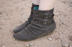 Blowfish's Ginnfer booties in Grey Faux Suede