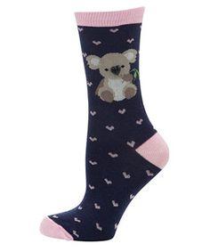 Navy Button Koala Socks.