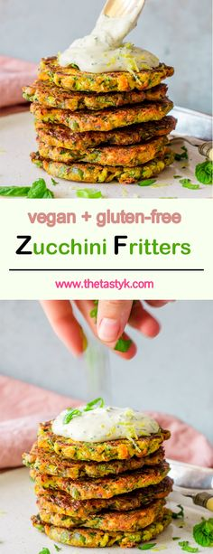 As in all of my recipes, 1 cup equals 250 ml. Zucchini Fritters with Dill Sour Cream - These vegan Zucchini Fritters with Dill Sour Cream are the perfect easy one-bowl lunch idea! They're not only incredibly crispy and gluten-free but also made with only Gluten Free Zucchini Fritters, Vegan Zucchini Fritters, Vegan Zucchini Recipes, Healthy Zucchini, Healthy Food, Sour Cream, Cream Cream, Whole Food Recipes, Cooking Recipes