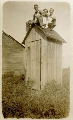 .Watcha doin'  ---Oh just chilling on top of the outhouse enjoying the 'atmosphere'