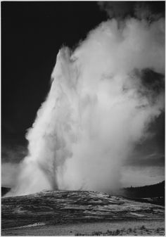Photograph of Old Faithful Geyser Erupting in Yellowstone National Park; Ansel Adams Photographs of National Parks and Monuments (pinned by haw-creek.com)