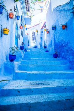 Morocco, Chefchaouen Chefchaouen is best known for its blue buildings, painted in a spectrum of soothing hues. If you want to escape the city, make sure to check out the nearby Rif mountains and the Cascades d'Akchour! Beautiful World, Beautiful Places, Visit Morocco, Blue City, Photos Voyages, Jolie Photo, Blue Aesthetic, Nice View, Beautiful Landscapes