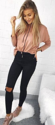 45 Impressive Fall Outfits To Wear Right Now / 09 - Kleider Modelle Beste Classy Outfits For Women, Outfits For Teens, Trendy Outfits, Cute Outfits, Clothes For Women, Teenage Outfits, Pink Outfits, Teen Fashion, Fashion Outfits