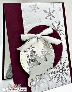 Measurements: Card Base: 5 x 4 Feels like Frost DSP: 5 x 2 Whisp… – Christmas DIY Holiday Cards Stampin Up Christmas, Christmas Cards To Make, Christmas Makes, Xmas Cards, Handmade Christmas, Holiday Cards, Christmas Crafts, Christmas 2019, Stampinup Christmas Cards