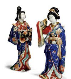 Japanese porcelain art -  Kimono women dolls