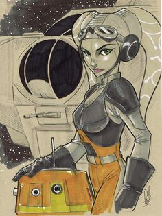 Hera Syndulla and Chopper from Star Wars Rebels by Hodges-Art (Tom Hodges) Star Wars Meme, Star Wars Fan Art, Star Wars Rebels, Sw Rebels, Starwars, Saga, D Mark, Star Wars Drawings, Star Wars Girls