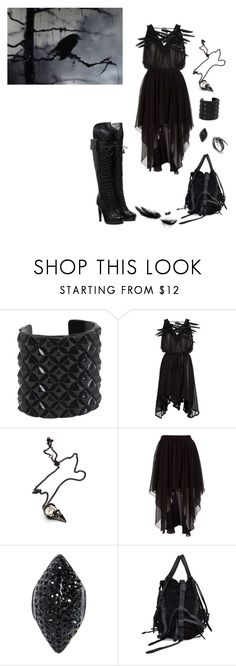 """Raven's black"" by hekaterine ❤ liked on Polyvore featuring Alexander McQueen, Ann Demeulemeester, Alexander Wang, Tabitha Simmons, raven, dress, feathers, leather, black and dark"