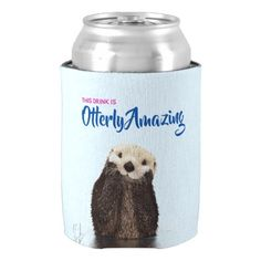 Otterly Amazing Drink with Cute Otter Photo Can Cooler  $7.30  by AxisMundi  - cyo diy customize personalize unique