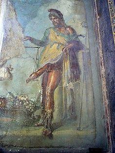 Príapo, Fresco del vestíbulo de la Casa de los Vettii, Pompeya, s. I d. C.