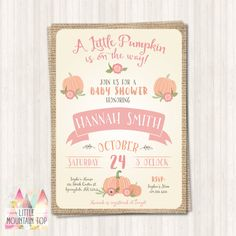 Little Pumpkin Baby Shower Invitation - Fall/pumpkin inspired baby shower invitation! Easily printed on white paper and will print out just like image; OR for added convenience, select the printed option and let us print and ship them to you! **Please note, this listing is for the digital version, if youd like to get printed invitations, you can order from here: https://www.etsy.com/listing/264692543/printed-invitations-with-matching?ref=shop_home_active_1…