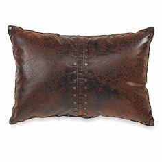 Croscill Plateau Boudoir Pillow Brown Faux Leather Rustic Southwestern Santa Fe  #Croscill #Southwestern