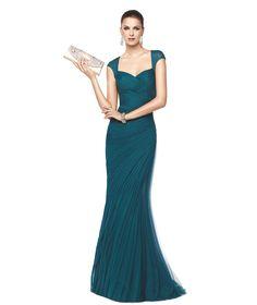 Blue, draped, cocktail dress Nicky - Pronovias 2015
