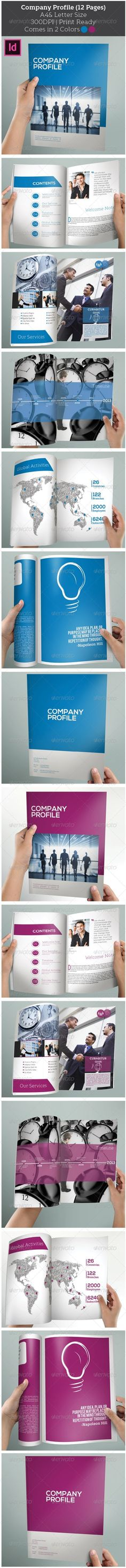 Company Profile (12 Pages) Brochure. This brochure can serve multiple purposes. You can use as a corporate identity brochure to represents your business, services and more.  Everything is editable right in Indesign. Just add your own pictures and texts, and it's ready for print. All colors can easily be changed. All texts are set with free fonts, and download links are provided. You can easily re-arrange pages and create more spreads based on the existing ones.