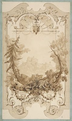 Jules-Edmond-Charles Lachaise   Design for a Decorative Wall Panel with Hunting Motif, Pless Chateau, Silesia   The Met