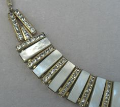 Stunning c1940s Choker Necklace Diamante Rhinestones & Piano Key Mother of Pearl Styling! It was mom's!
