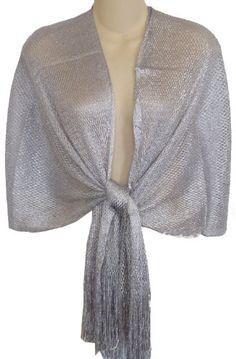 Sheer Silver Fishnet & Lurex Fringed Evening Wrap Shawl for Prom Wedding Formal $17.99