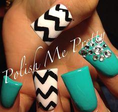 turquoise nails with rhinestone