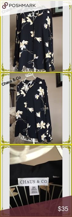 Chaus & Co Woman's Blouse Chaus & Co Woman's Blouse. This is a lovely Black button down Blouse with a bold floral design. This can be worn in a Business setting as we as in the evening for a night out. Pre loved in perfect condition. Chaus & Co Tops