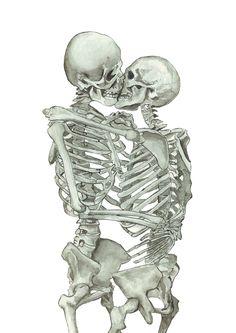 Love, kissing couple, skeleton, anatomy, print, watercolor painting, human skeleton, anatomy art, kiss, drawing, picture